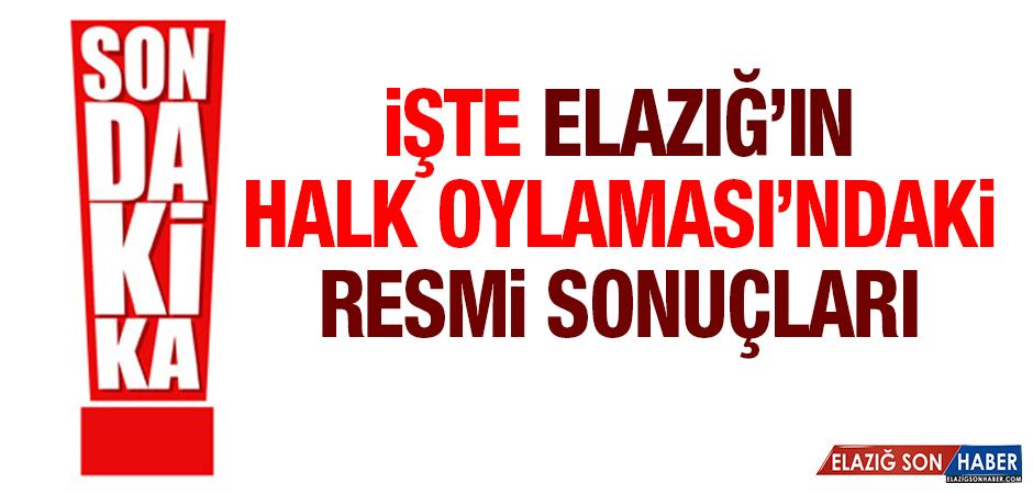 Halk Oylamasında Elazığ'ın Resmi Sonucu Belli Oldu