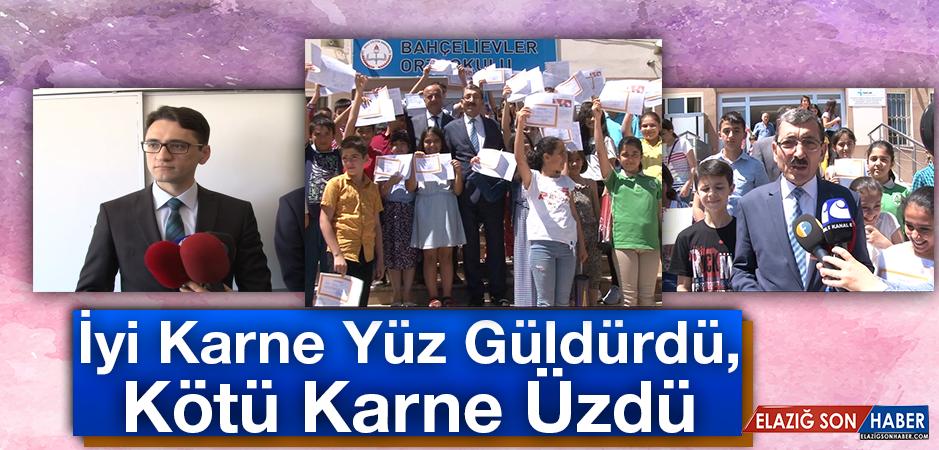 Elazığ'da Karne Heyecanı, Vali Yardımcısı Gül Ve Milli Eğitim Müdürü Bağlıtaş Karne Dağıttı