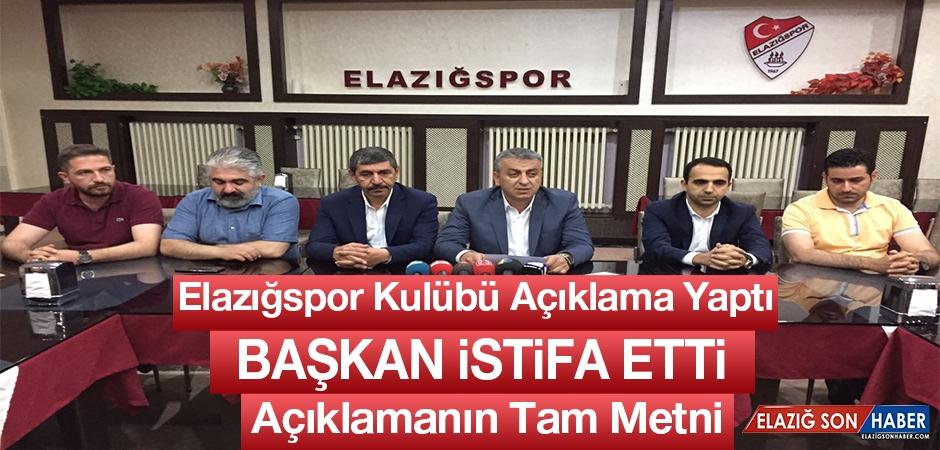 Elazığspor Kulübü Başkanı Karataş Görevinden İstifa Etti