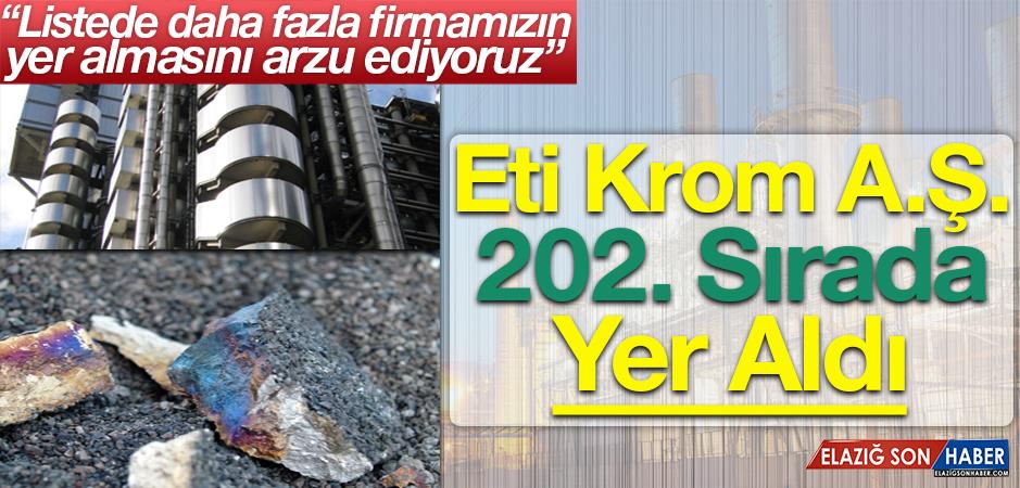 Türkiye'nin 500 Büyük Sanayi Kuruluşunda Elazığ'ın Sırası...