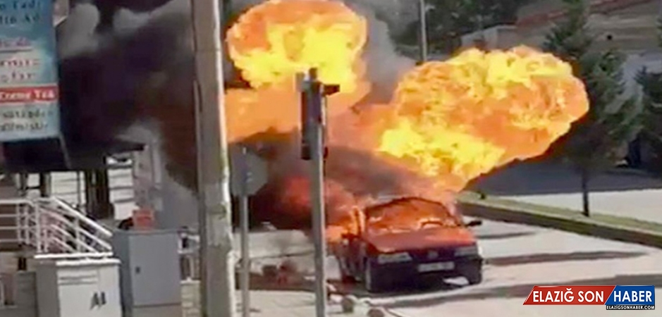 LPG Tankı Patlayan Otomobil Alevlere Teslim Oldu