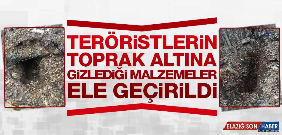 Tunceli'de Teröristlerin Toprak Altına Gizlediği Malzemeler Ele Geçirildi