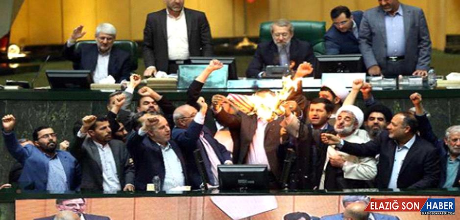 Trump'ın Nükleer Anlaşma Kararına İran'dan Büyük Öfke! Vekiller ABD Bayrağını Ateşe Verdi