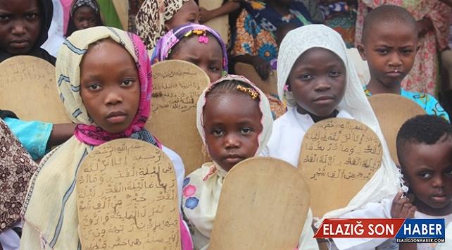 Afrika Gine'de kurstaki öğrenciler tahta levhalarda Kur'an öğreniyor