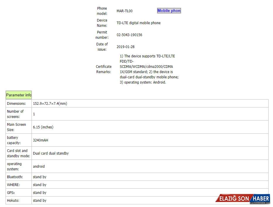 Huawei P30 Ailesinin Küçük Kardeşi P30 Lite, TENAA'da Ortaya Çıktı