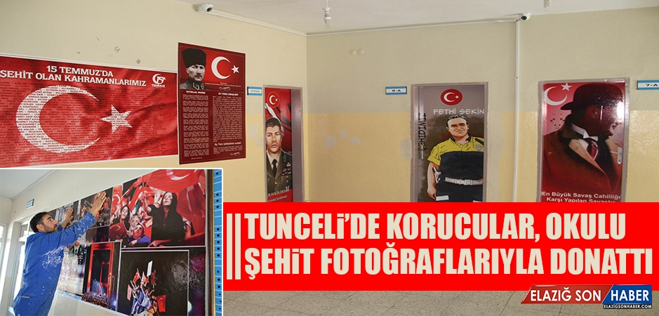 Tunceli'de Korucular, Okulu Şehit Fotoğraflarıyla Donattı