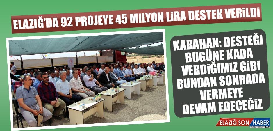 Elazığ'da 92 Projeye 45 Milyon Lira Destek Verildi