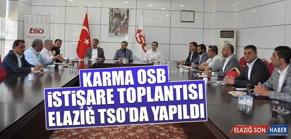Karma OSB İstişare Toplantısı Elazığ TSO'da Yapıldı