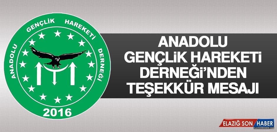 Anadolu Gençlik Hareketi Derneği'nden Teşekkür Mesajı