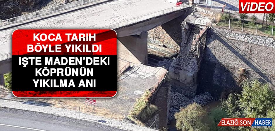 Koca Tarih Böyle Yıkıldı, İşte Maden'de ki Köprünün Yıkılma Anı