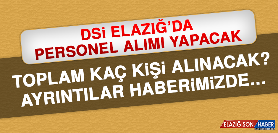 DSİ Elazığ'da Personel Alımı Yapacak