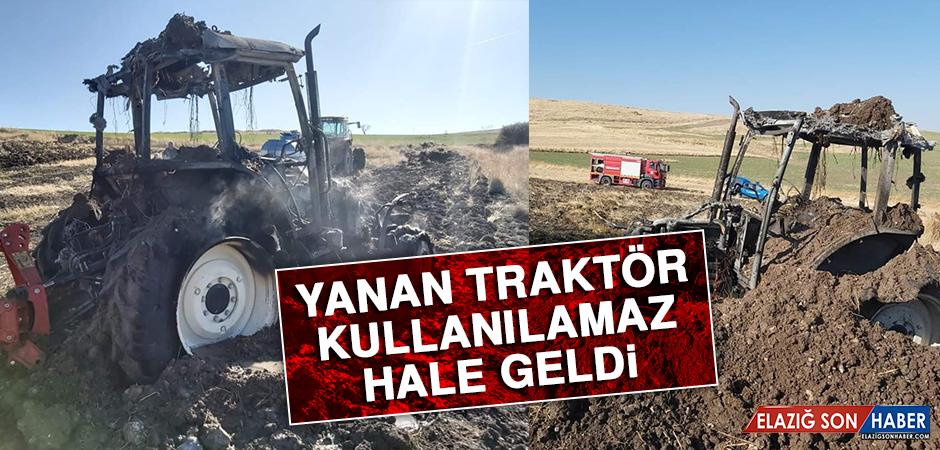 Yanan Traktör Kullanılamaz Hale Geldi