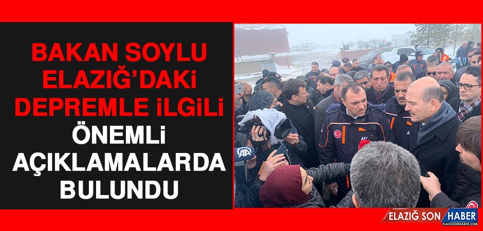 Bakan Soylu Elazığ'daki Depremle İlgili Önemli Açıklamalarda Bulundu