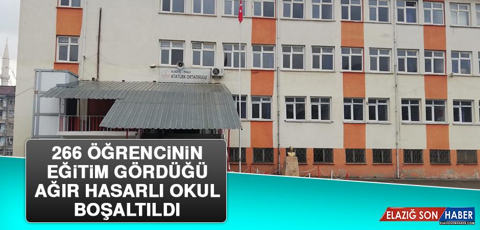 266 Öğrencinin Eğitim Gördüğü Ağır Hasarlı Okul Boşaltıldı