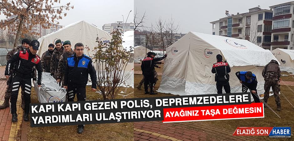 Kapı Kapı Gezen Polis, Depremzedelere Yardımları Ulaştırıyor