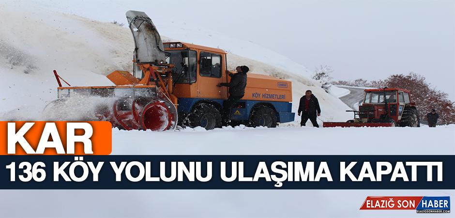 Kar 136 Köy Yolunu Ulaşıma Kapattı