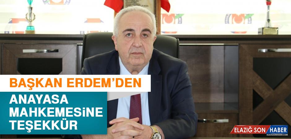 Başkan Erdem'den Anayasa Mahkemesine Teşekkür