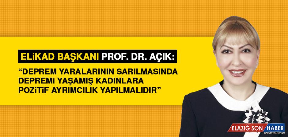 ELİKAD Başkanı Prof. Dr. Açık'tan 8 Mart Dünya Kadınlar Günü Mesajı