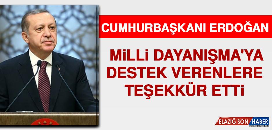 Cumhurbaşkanı Erdoğan'dan 'Milli Dayanışma'ya Destek Verenlere Teşekkür