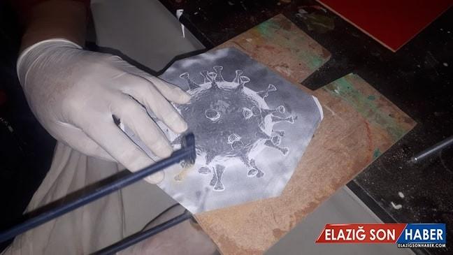(Özel) ''Naht'' sanatıyla Korona virüs Covid-19'un simgesini yaptı