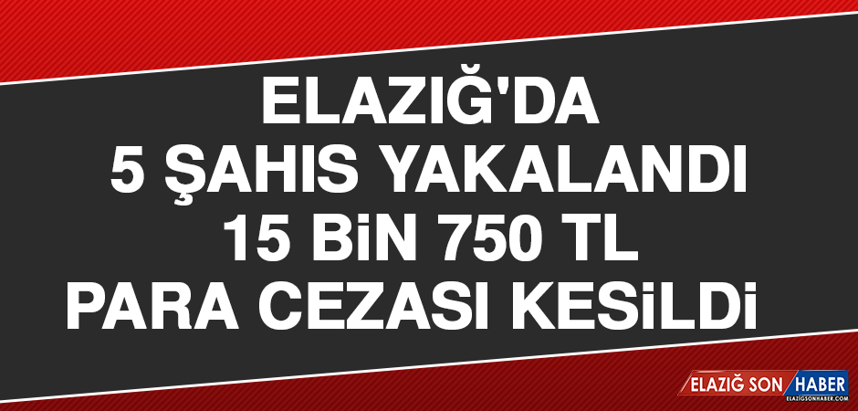 Elazığ'da 5 Şahıs Yakalandı, 15 Bin 750 TL Para Cezası Kesildi