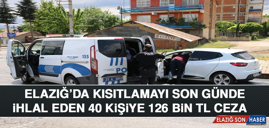 Elazığ'da Kısıtlamayı Son Günde İhlal Eden 40 Kişiye 126 Bin TL Ceza