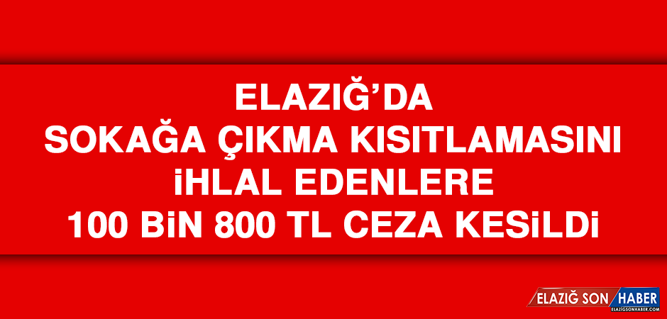Elazığ'da Yasağa Uymayan 32 Kişiye Ceza Kesildi