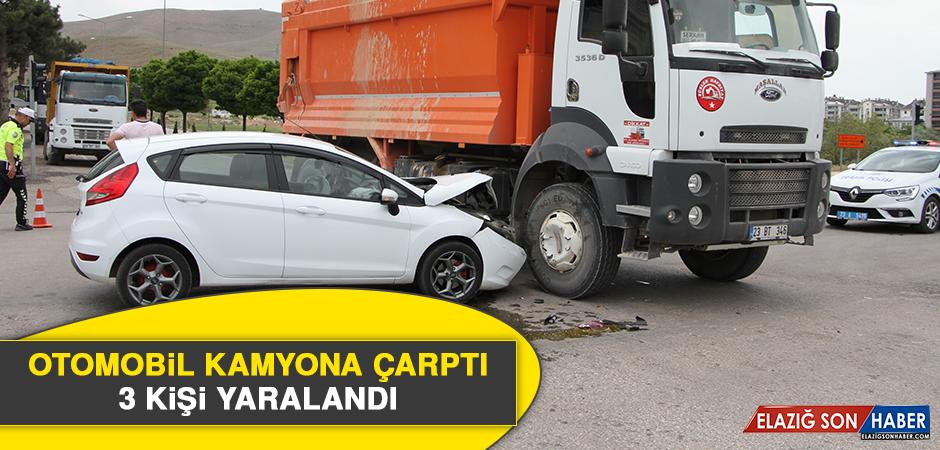 Otomobil Kamyona Çarptı, 3 Kişi Yaralandı