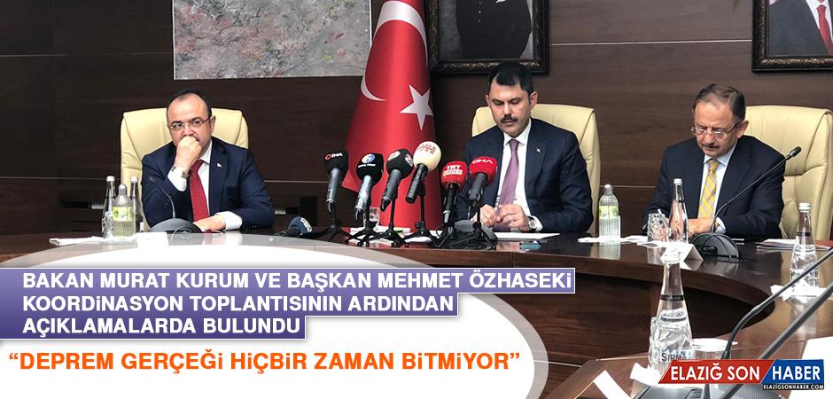 Bakan Kurum ve Başkan Özhaseki Koordinasyon Toplantısının Ardından Açıklamalarda Bulundu