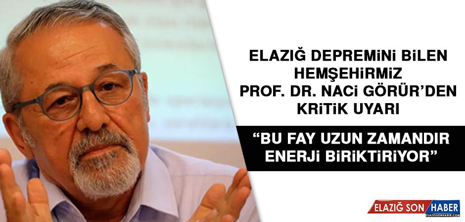 Elazığ Depremini Bilen hemşehirmiz Prof. Dr. Naci Görür'den Kritik Uyarı