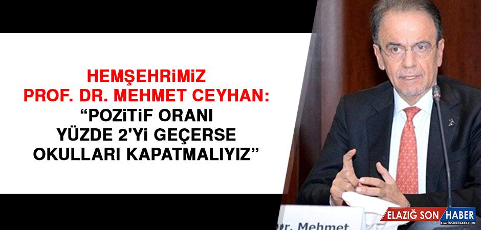 Hemşehrimiz Prof. Dr. Mehmet Ceyhan: Pozitif oranı yüzde 2'yi geçerse okulları kapatmalıyız