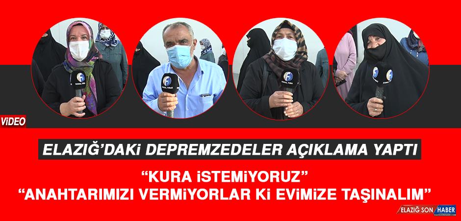 """Elazığ'daki Depremzedeler Açıklama Yaptı: """"Kura istemiyoruz"""""""