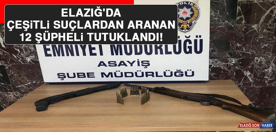 Elazığ'da Çeşitli Suçlardan Aranan 12 Şüpheli Tutuklandı!