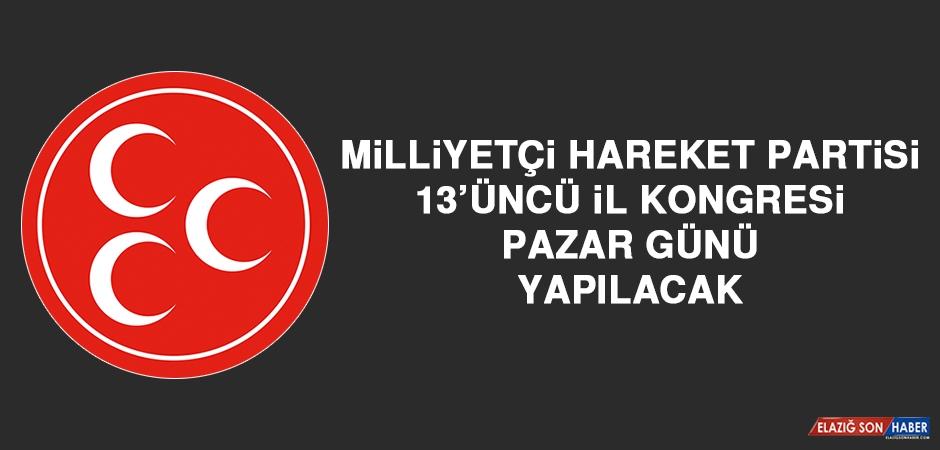 MHP 13'üncü İl Kongresi Pazar Günü Yapılacak
