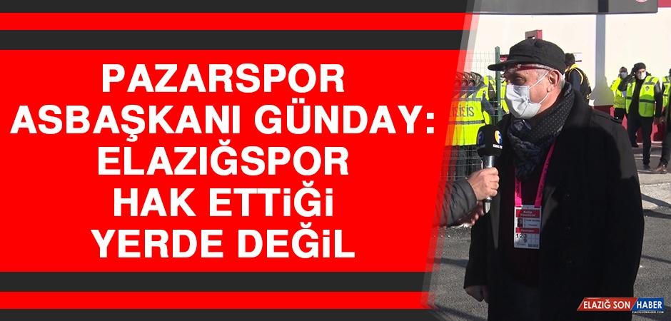 Pazarspor Asbaşkanı Günday: Elazığspor Hak Ettiği Yerde Değil