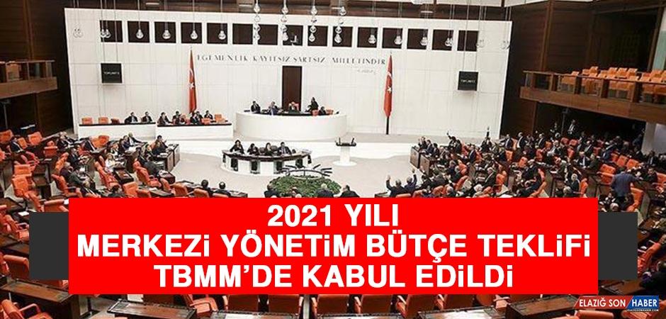 2021 Yılı Merkezi Yönetim Bütçe Teklifi TBMM'de Kabul Edildi