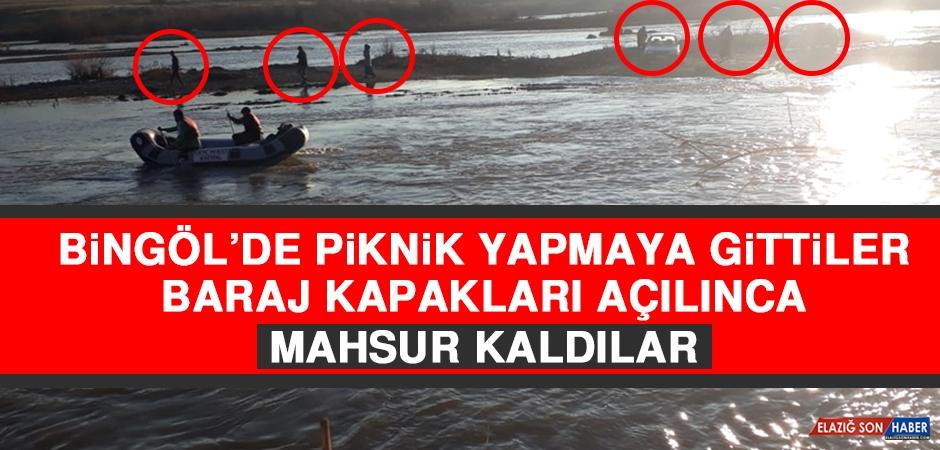 Bingöl'de Piknik Yapmaya Gittiler Baraj Kapakları Açılınca Mahsur Kaldılar
