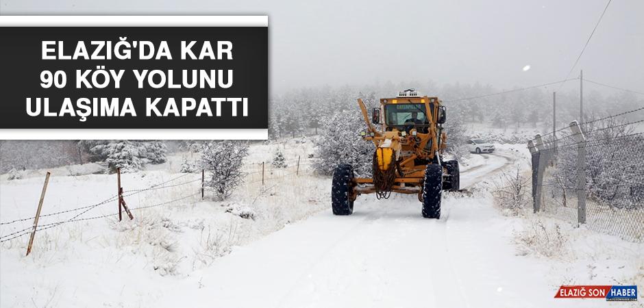Elazığ'da Kar 90 Köy Yolunu Ulaşıma Kapattı