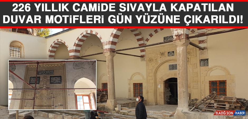 Elazığ'daki 226 Yıllık Camide Sıvayla Kapatılan Duvar Motifleri Gün Yüzüne Çıkarıldı