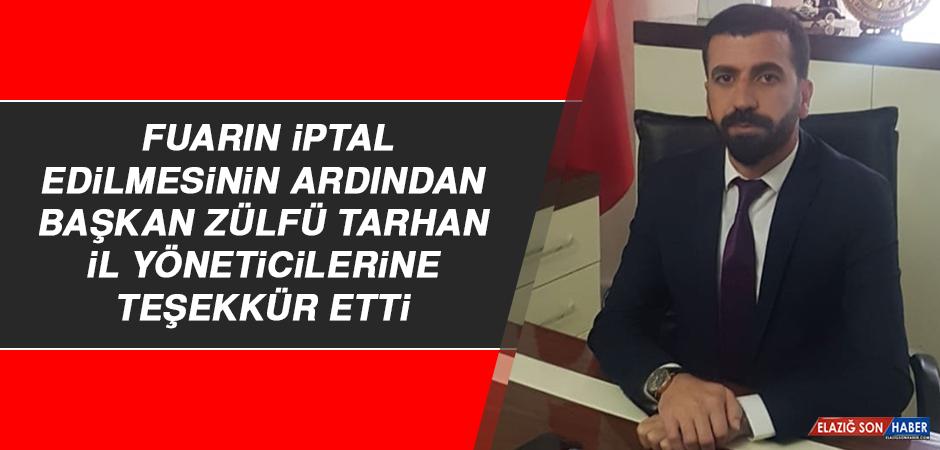 Lokantacılar ve Tatlıcılar Esnaf Odası Başkanı Zülfü Tarhan İl Yöneticilerine Teşekkür