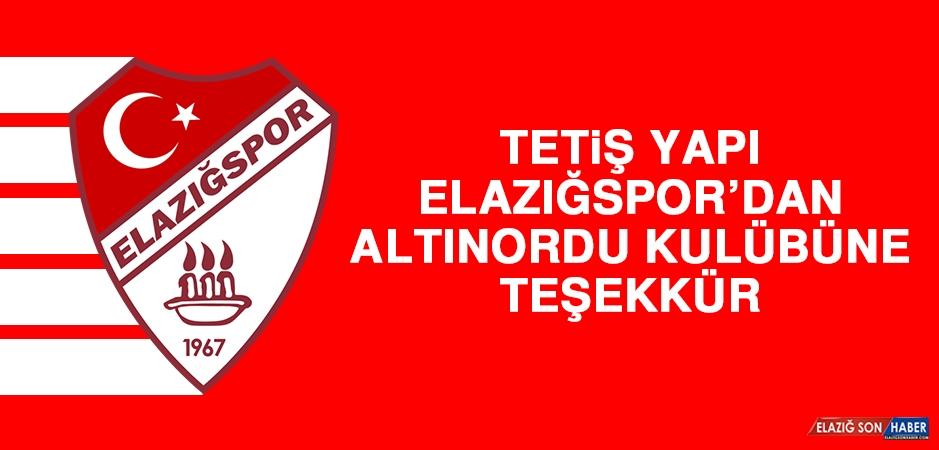 TY Elazığspor'dan Altınordu Kulübüne Teşekkür