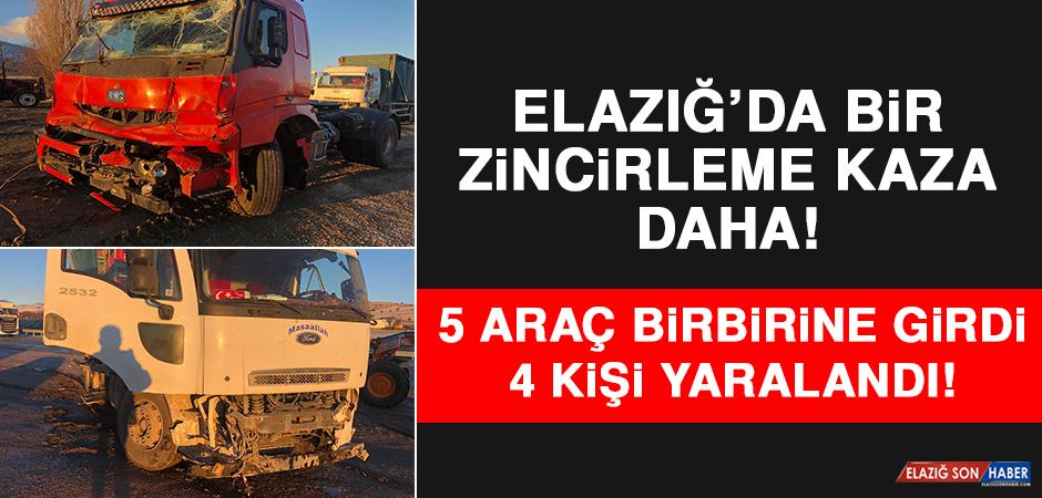 Elazığ'da Bir Zincirleme Kaza Daha! 5 Araç Birbirine Girdi: 4 Yaralı