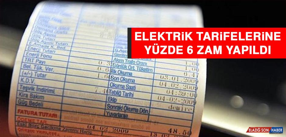 Elektrik Tarifelerine Yüzde 6 Zam Yapıldı