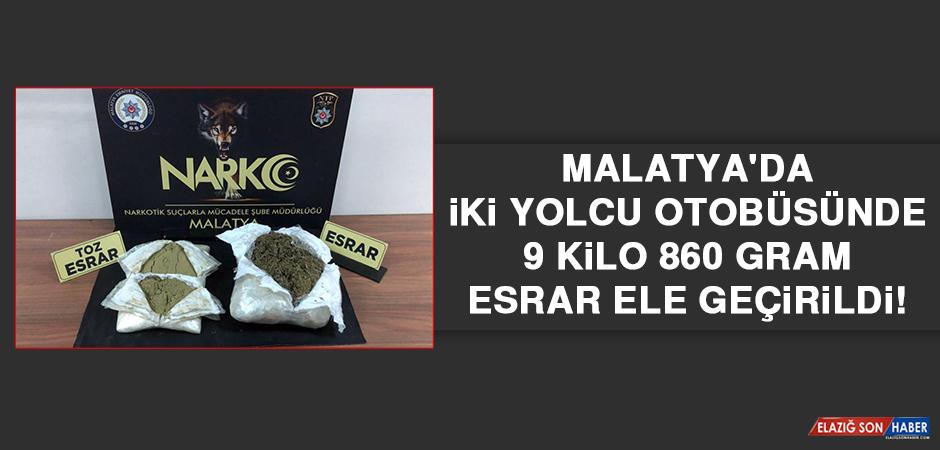 Malatya'da İki Yolcu Otobüsünde 9 Kilo 860 Gram Esrar Ele Geçirildi