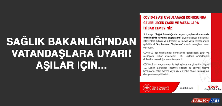 Sağlık Bakanlığı'ndan vatandaşlara uyarı! Aşılar için...