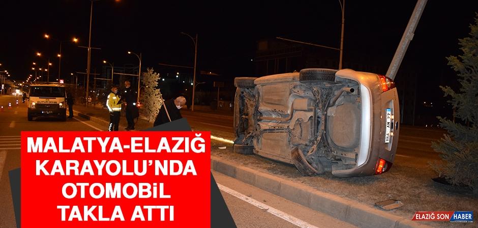 Malatya-Elazığ Karayolu'nda Otomobil Takla Attı