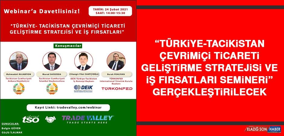 Türkiye-Tacikistan Çevrimiçi Ticareti Geliştirme Stratejisi Ve İş Fırsatları Semineri Gerçekleştirilecek