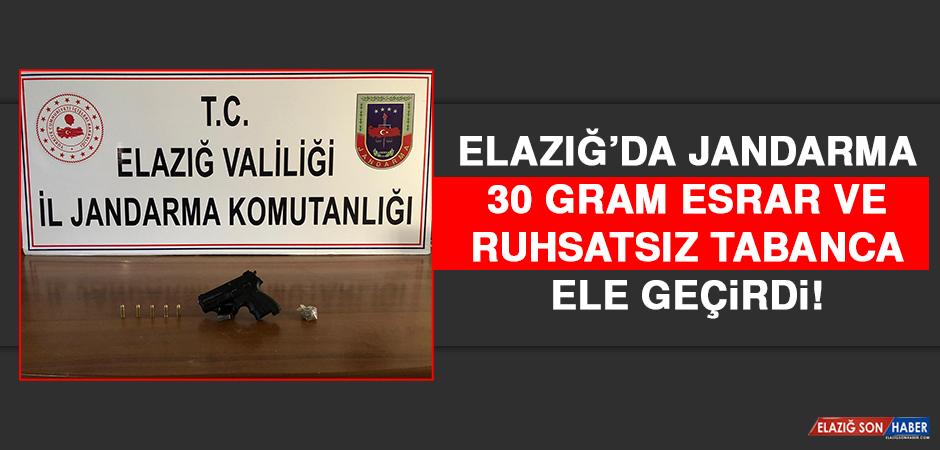 Elazığ'da Jandarma Esrar ve Ruhsatsız Tabanca Ele Geçirdi!