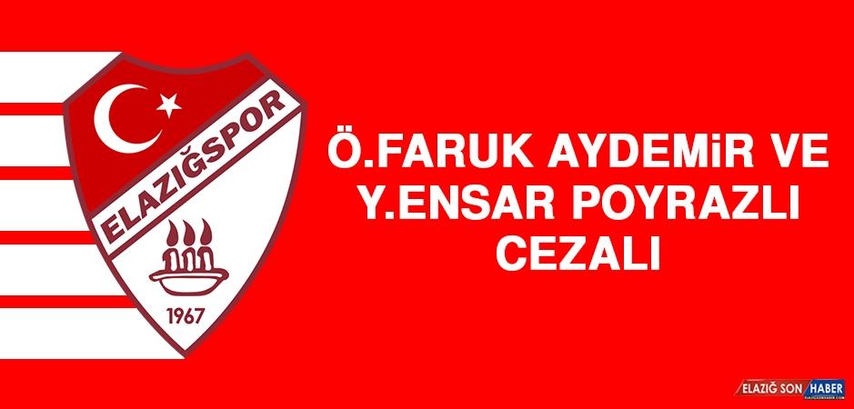 Ö. Faruk Aydemir ve Y. Ensar Poyrazlı Cezalı