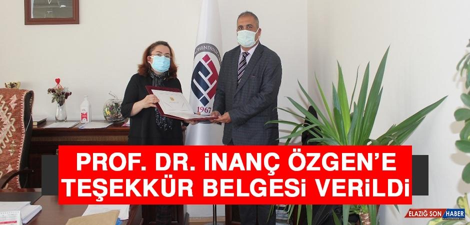 Prof. Dr. İnanç Özgen'e Teşekkür Belgesi Verildi